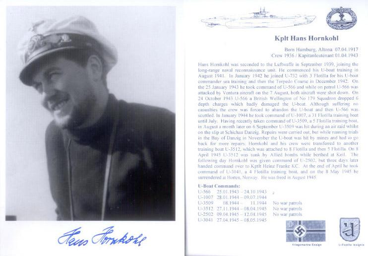 UB6 U-boat Captain THOMSEN KC hand signed photograph